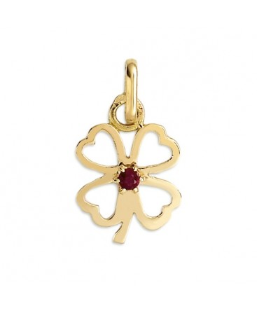 PENDENTIF TREFLE A 4 FEUILLES OR RUBIS