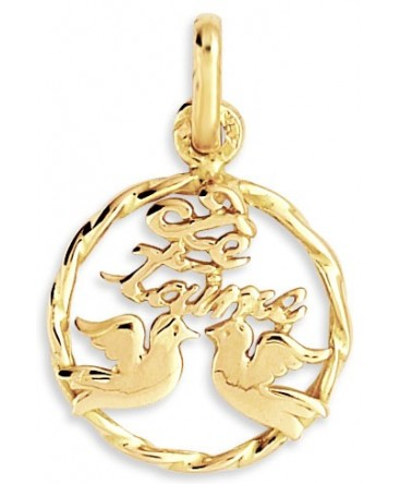 PENDENTIF COLOMBES JE T'M OR