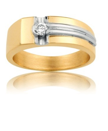 BAGUE HOMME OR DIAMANT 15/100