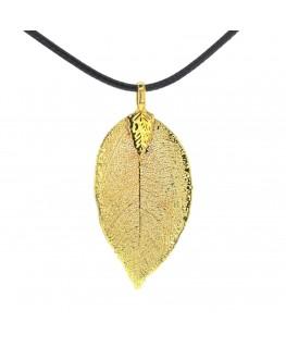 Pendentif Feuille d'or plaqué or