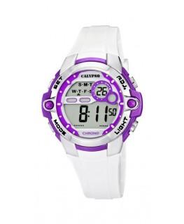 Montre CALYPSO Dame digitale bracelet silicone blanc boitier violet