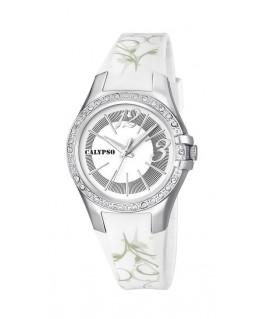 Montre CALYPSO Femme Bracelet Blanc BT AG Fond BL