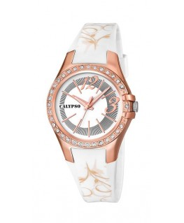 Montre CALYPSO Femme Bracelet Blanc BT CV Fond BL