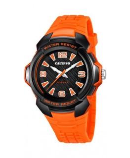 Montre CALYPSO Homme bracelet orange fond noir orange