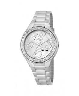 Montre CALYPSO Dame digitale bracelet silicone blanc fond blanc