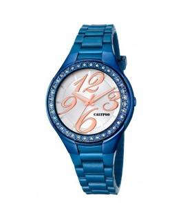 Montre CALYPSO Dame bracelet silicone bleu fond bleu