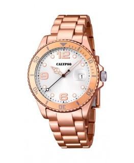Montre CALYPSO Dame bracelet acier cuivré fond blanc argenté