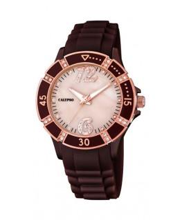 Montre CALYPSO Dame bracelet silicone marron fond cuivré