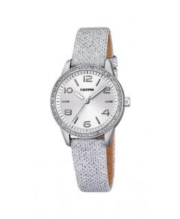 Montre CALYPSO Dame digitale bracelet cuir gris irisé fond argenté