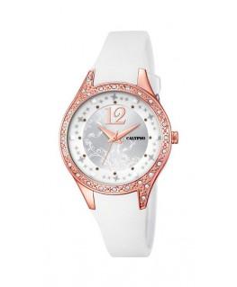 Montre CALYPSO Dame bracelet silicone blanc fond blanc argenté