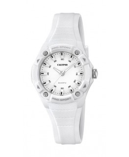 Montre CALYPSO Dame bracelet silicone blanc fond blanc