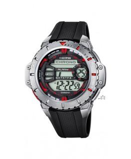 Montre CALYPSO Homme digitale bracelet noir boitier argenté rouge