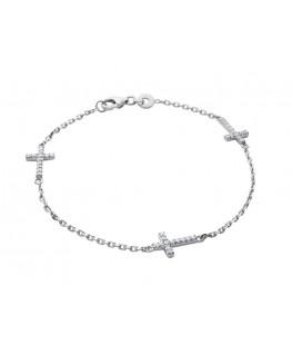 Bracelet Argent avec croix oxyde de zirconium