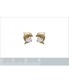BOUCLES PL-OR DAUPHIN CRISTAL BLANC