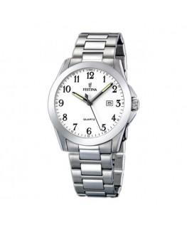 Montre FESTINA Homme bracelet acier fond blanc argenté