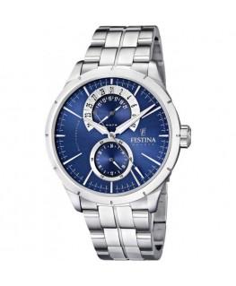 Montre FESTINA Homme multi-fonctions bracelet acier fond bleu