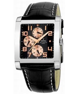 Montre FESTINA Homme multi-fonctions bracelet cuir fond noir cuivre
