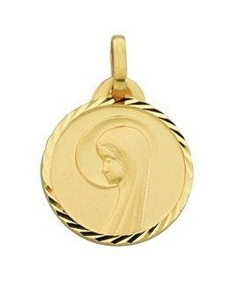 MEDAILLE OR 9 CARATS VIERGE RONDE SAT-DI