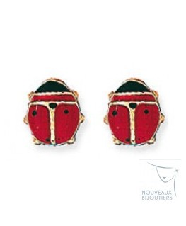 BOUCLES OR 9 CARATS COCCINELLE LAQ-ROU-N