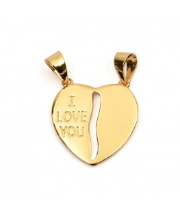 PENDENTIF PL-OR COEUR SECABLE I LOVE YOU