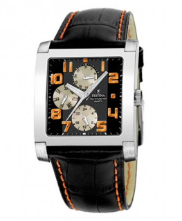 Montre FESTINA Homme multi-fonctions bracelet cuir noir fond noir cuivré