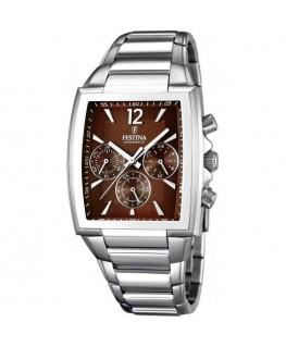 Montre FESTINA Homme chrono bracelet acier fond marron
