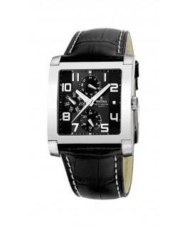 Montre FESTINA Homme multi-fonctions bracelet cuir noir fond noir