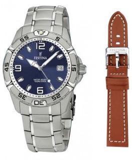 Montre FESTINA Homme bracelet acier fond bleu