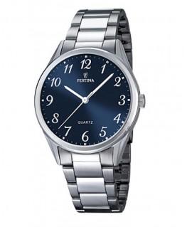Montre FESTINA Homme bracelet acier fond bleu argenté