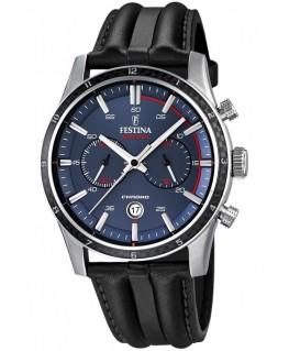 Montre FESTINA Homme dual-time bracelet cuir fond bleu rouge