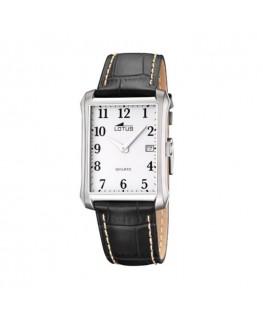 Montre LOTUS Homme bracelet cuir noir fond blanc
