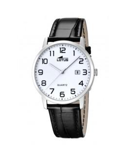 Montre LOTUS Homme bracelet cuir noir fond blanc noir