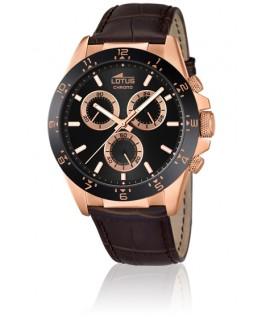 Montre LOTUS Homme bracelet cuir marron fond noir brun