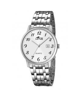 Montre LOTUS Homme bracelet acier fond blanc argenté