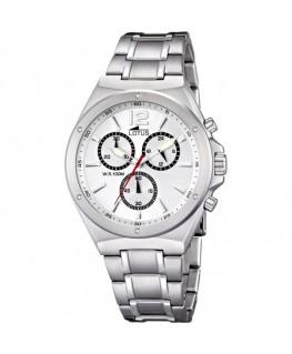 Montre LOTUS Homme chrono bracelet acier fond blanc