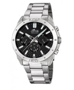 Montre LOTUS Homme chrono bracelet acier fond noir
