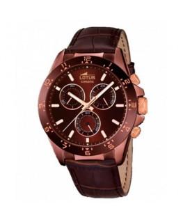 Montre LOTUS Homme chrono bracelet cuir marron fond marron