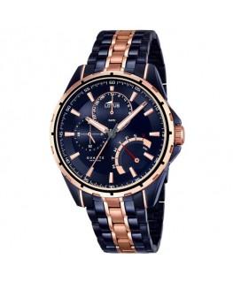 Montre LOTUS Homme multi-fonctions bracelet acier fond bleu cuivré