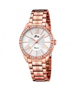 Montre LOTUS Dame bracelet acier rose fond blanc