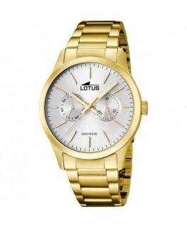 Montre LOTUS Homme multi-fonctions bracelet plaqué acier doré fond argenté