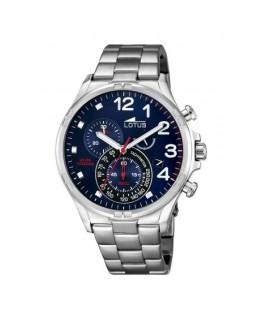 Montre LOTUS Homme chrono bracelet acier fond bleu noir