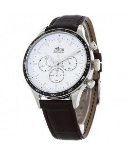 Montre LOTUS Homme chrono bracelet cuir marron fond argenté
