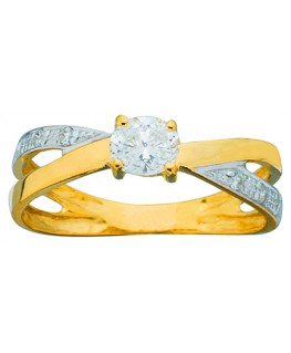 BAGUE OR BICOLORE Oxyde de Zirconium 750-000