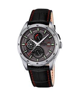 Montre FESTINA Homme multi-fonctions bracelet cuir fond gris noir