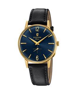 Montre FESTINA Homme Collection Extra plaqué bracelet cuir fond bleu