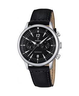 Montre FESTINA Homme chrono bracelet cuir noir fond noir