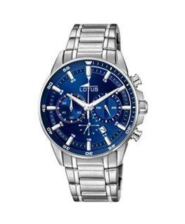 Montre LOTUS Homme chrono bracelet acier fond bleu