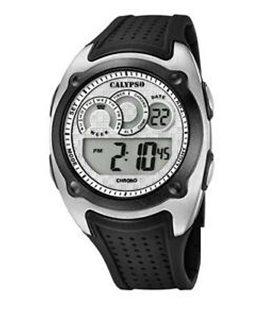 Montre CALYPSO Homme digitale bracelet silicone noir fond noir