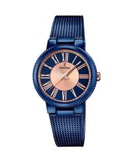 Montre FESTINA Dame bracelet acier bleu fond rose bleu
