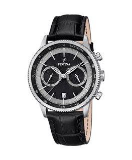 Montre FESTINA Homme chrono bracelet cuir noir fond noir argenté